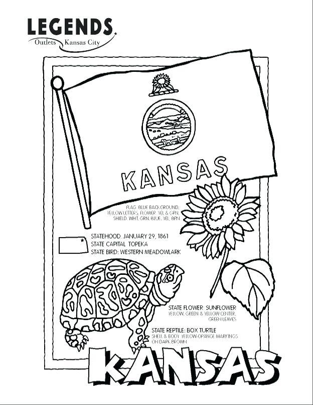 624x806 Kansas Flag Coloring Page