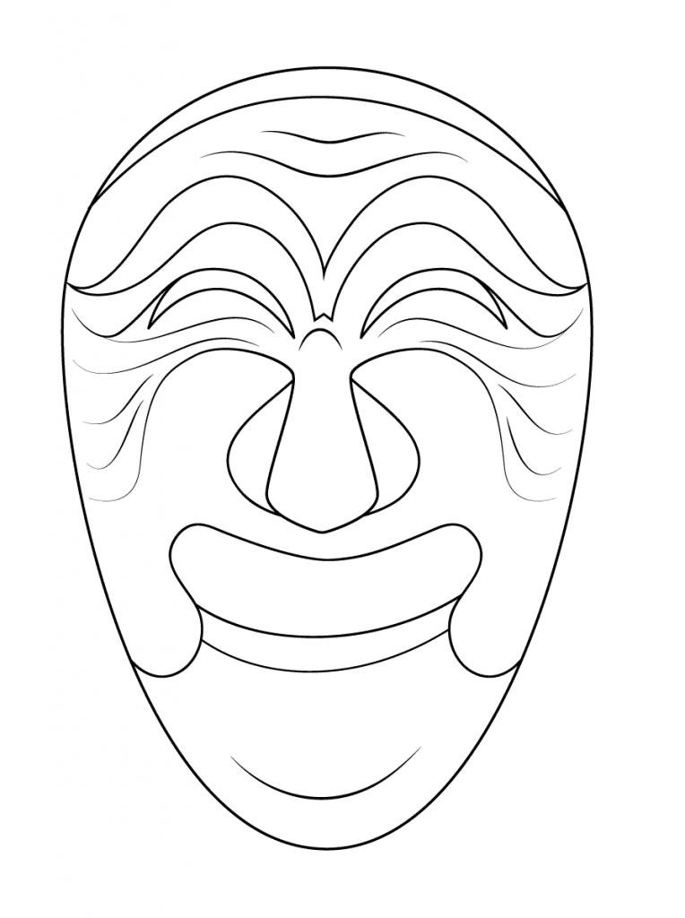 764x1024 Korean Mask Of Yangban Free Coloring Pages