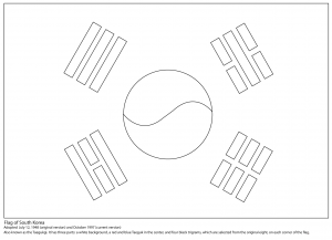 300x217 South Korea Flag Design Coloring Pages