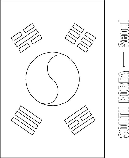 535x652 Korea Coloring Page South Korea Flag Coloring All Things
