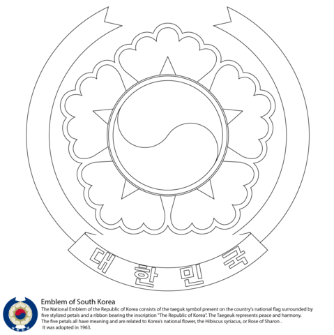 479x480 Emblem Of South Korea Coloring Page Mk Craftsampprojects