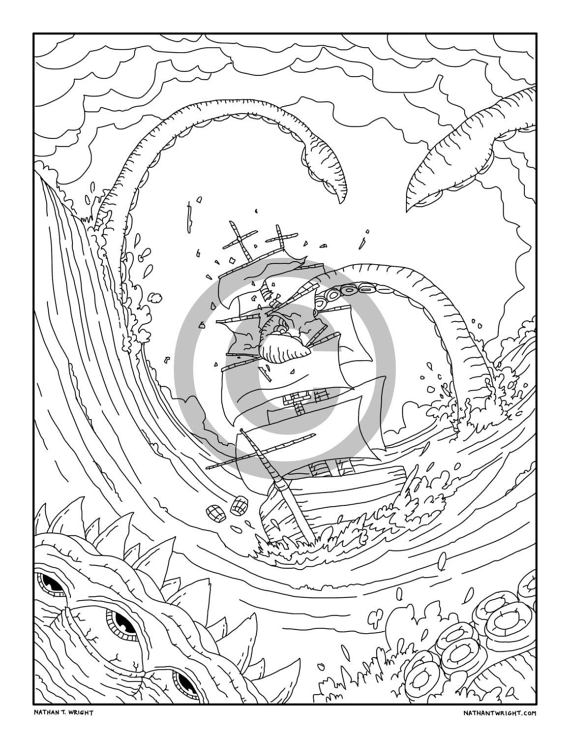 Kraken Coloring Pages - Coloring Pages Kids 2019   738x570