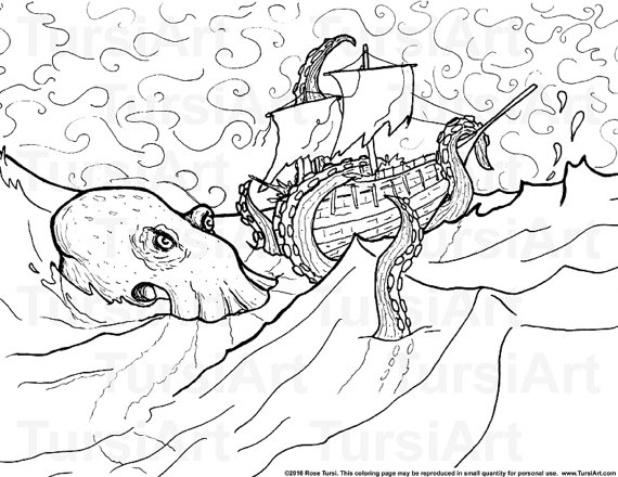 570x440 Items Similar To Kraken Coloring Page Digital Download Printable