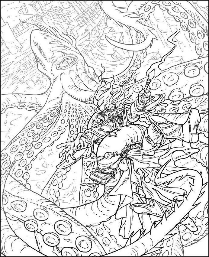 692x850 Kraken Adult Colouring Page Coloring Horror