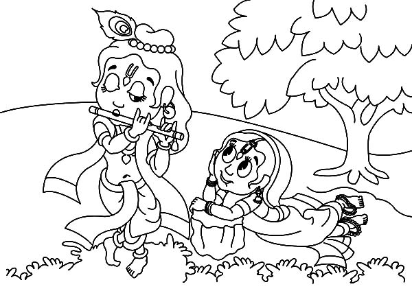 600x424 Krishna Coloring Pages