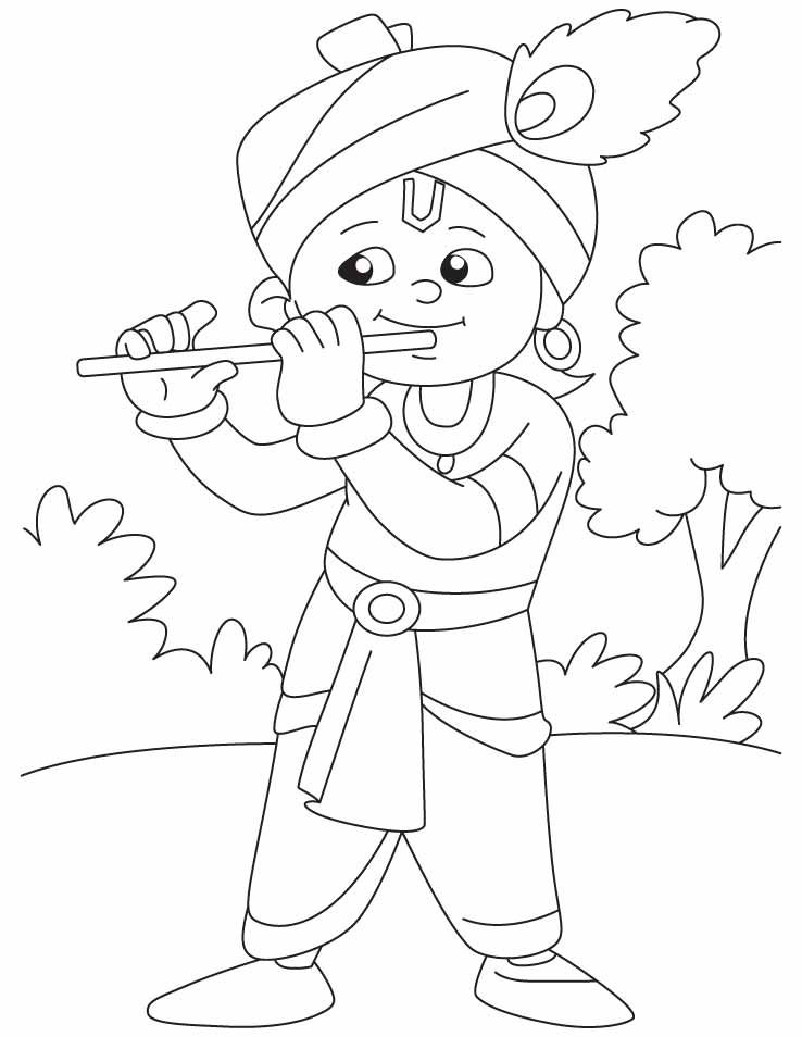 738x954 Krishna With His Magical Flute Coloring Pages Krishna