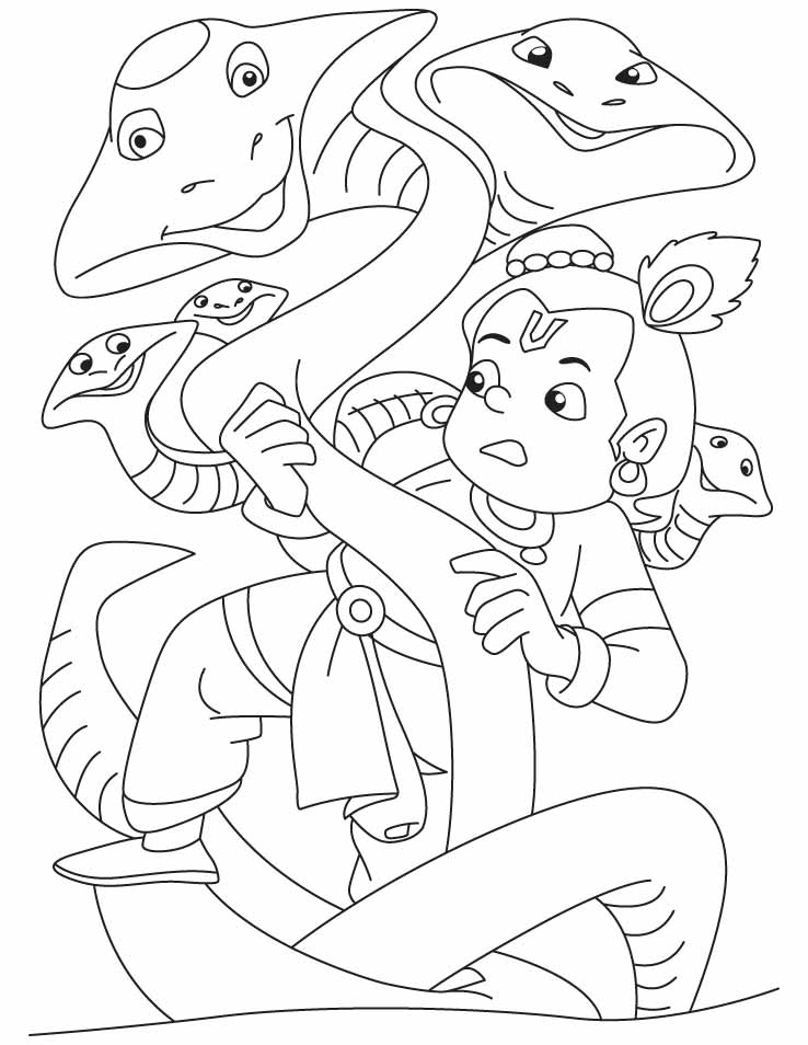 738x954 Lord Krishna And Snakes Coloring Pages