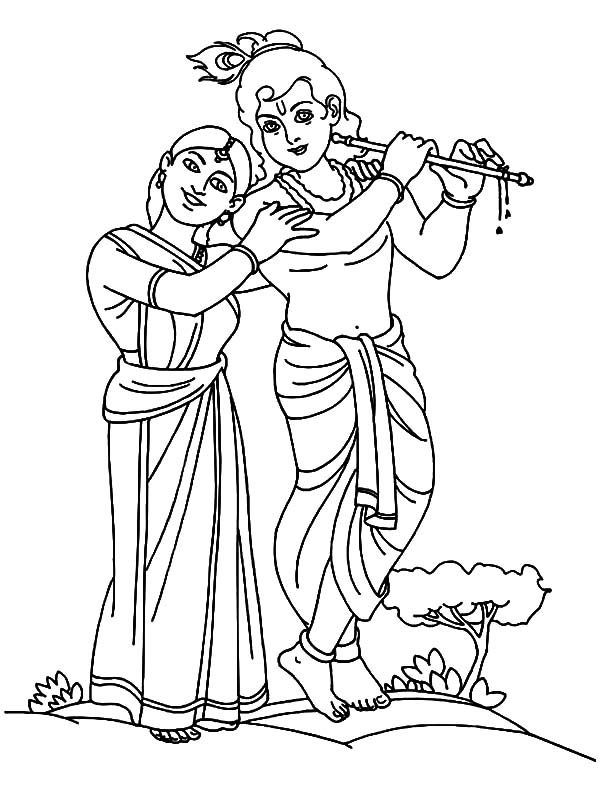 600x790 Romance Between Radha And Krishna Coloring Pages