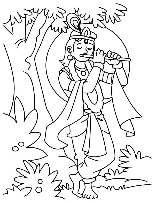 600x785 Shri Krishna Janmashtami Coloring Pages