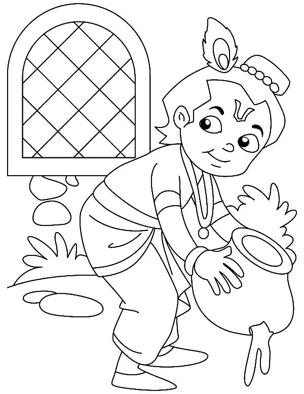 600x776 Lord Krishna Coloring Pages