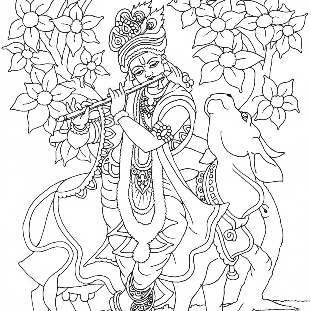 1024x1024 Coloring Pages Of Krishna