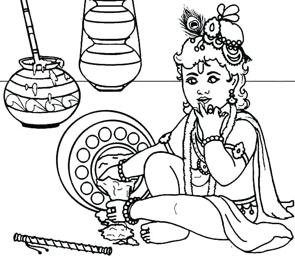 600x533 Free Lord Krishna Coloring Pages Spill Butter On The Floor