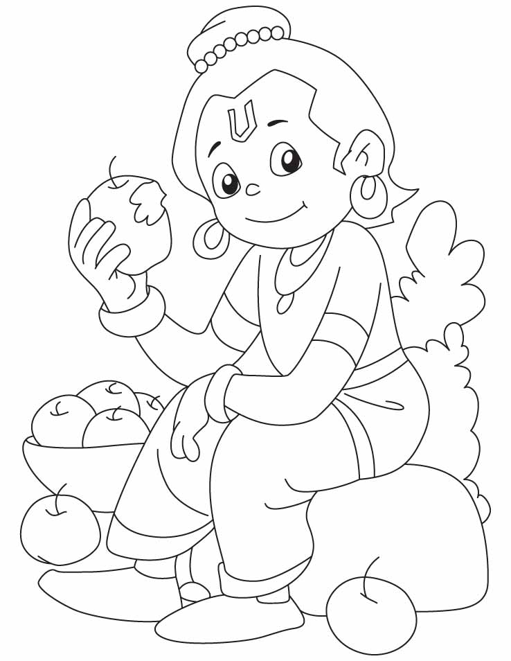 738x954 Krishna Coloring Pages