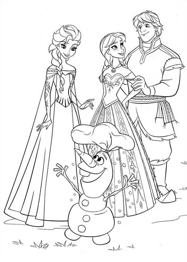 600x840 Anna Elsa Kristoff And Olaf Coloring Page Coloring Page Frozen