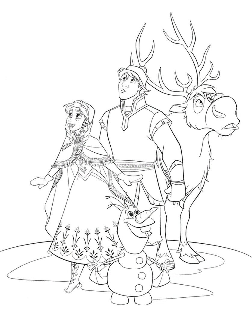 838x1028 Frozen Coloring Pages Anna Kristoff Prince