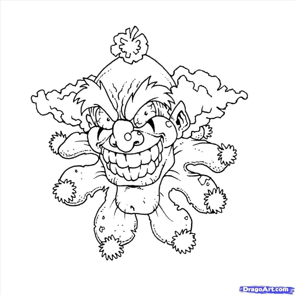 1023x1023 Coloring Pages Of Clowns With Balloons Free Printable Scaryuring
