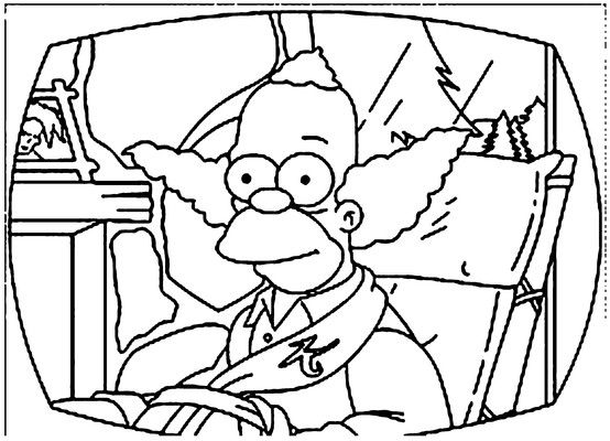 554x400 Krusty The Clown Coloring Page Coloring Pages Stitch