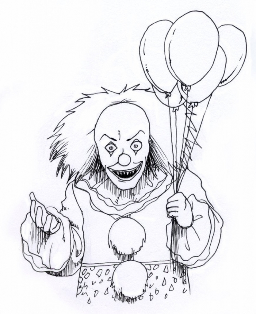835x1024 Scary Clowns Drawings Scary Clown Coloring Pages Az Coloring