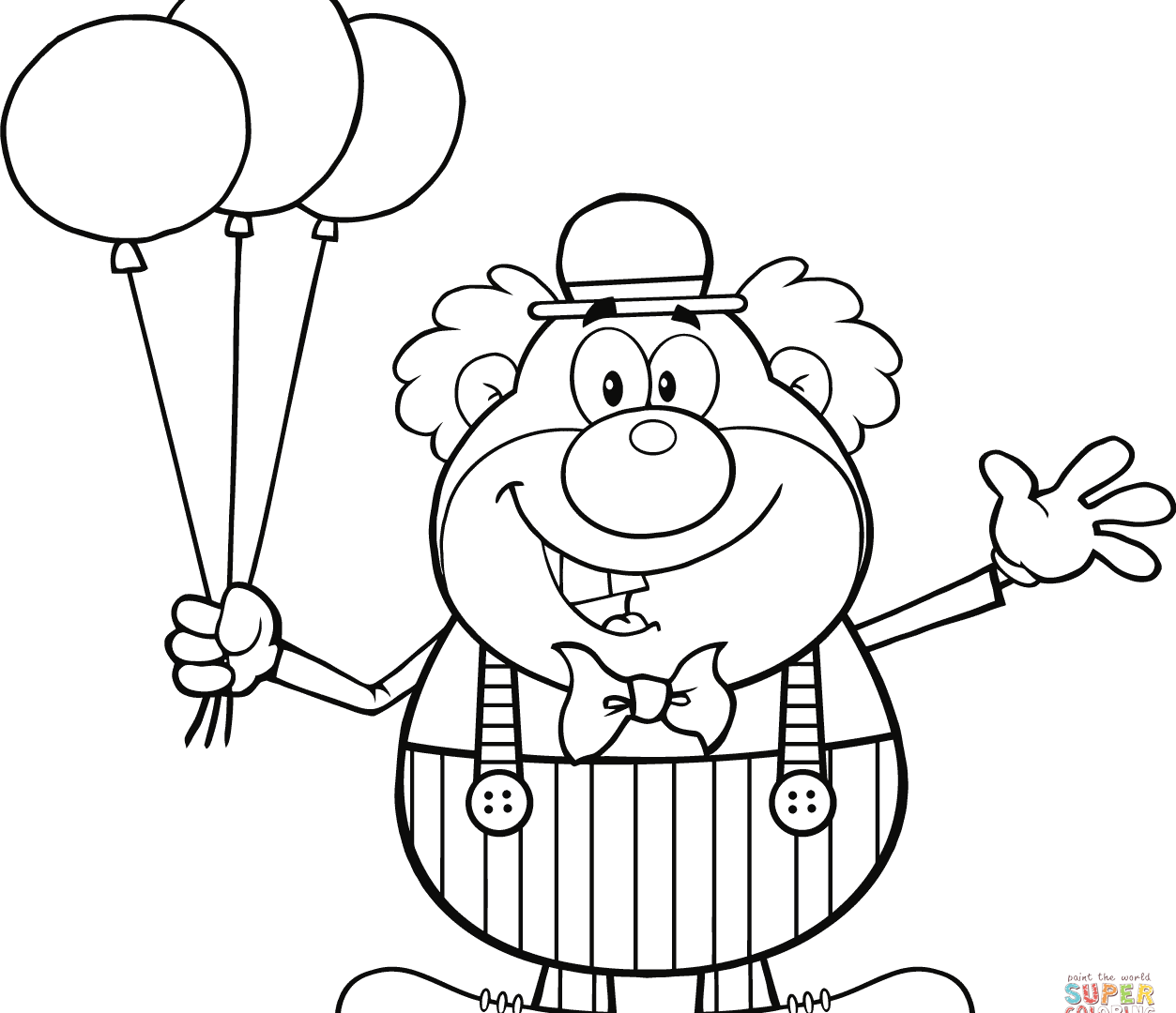 1253x1080 Clown Coloring Pages Circus Clown Black And White Hello Kitty