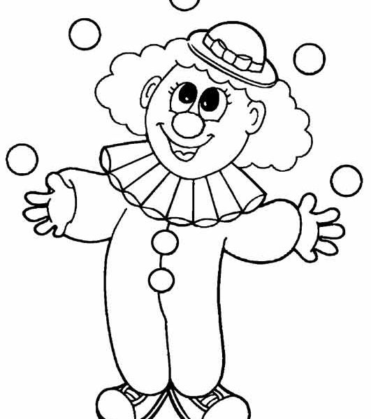 531x600 Clown Coloring Pages For Preschoolers Coloring Page