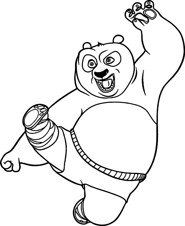 2327x2839 Kung Fu Panda Kick Coloring Page Wecoloringpage