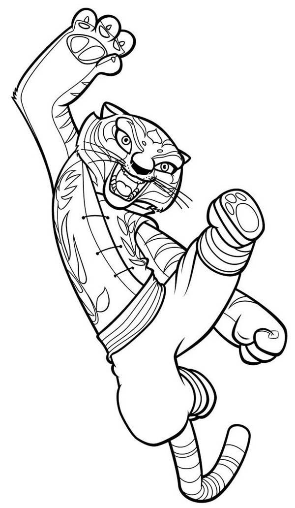 600x1032 Tigress Jumping Kick In Kung Fu Panda Coloring Page
