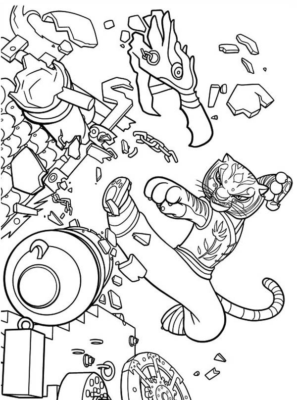 600x808 Tigress Kick Destroying Canon In Kung Fu Panda Coloring Page