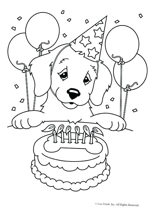 500x698 Golden Retriever Coloring Pages Birthday Coloring Page Free