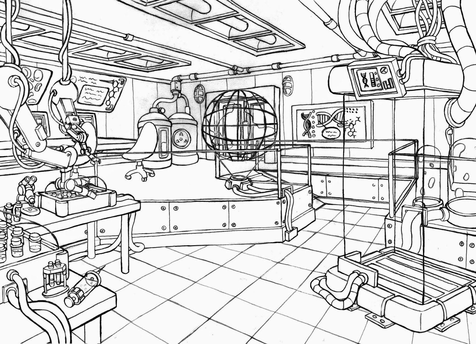 1600x1155 Science Lab Coloring Pages