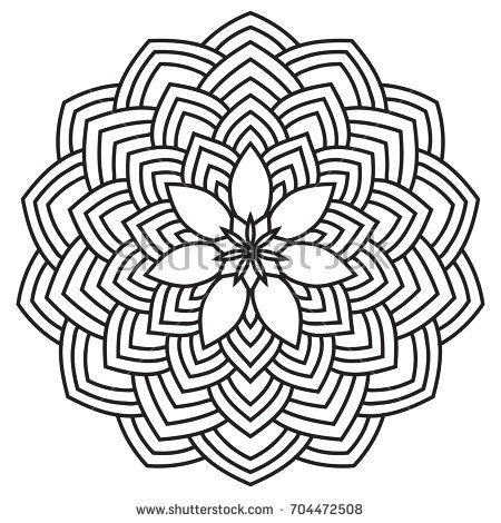 450x470 Hand Drawn Monochrome Oriental Ornamental Lace Round Mandala