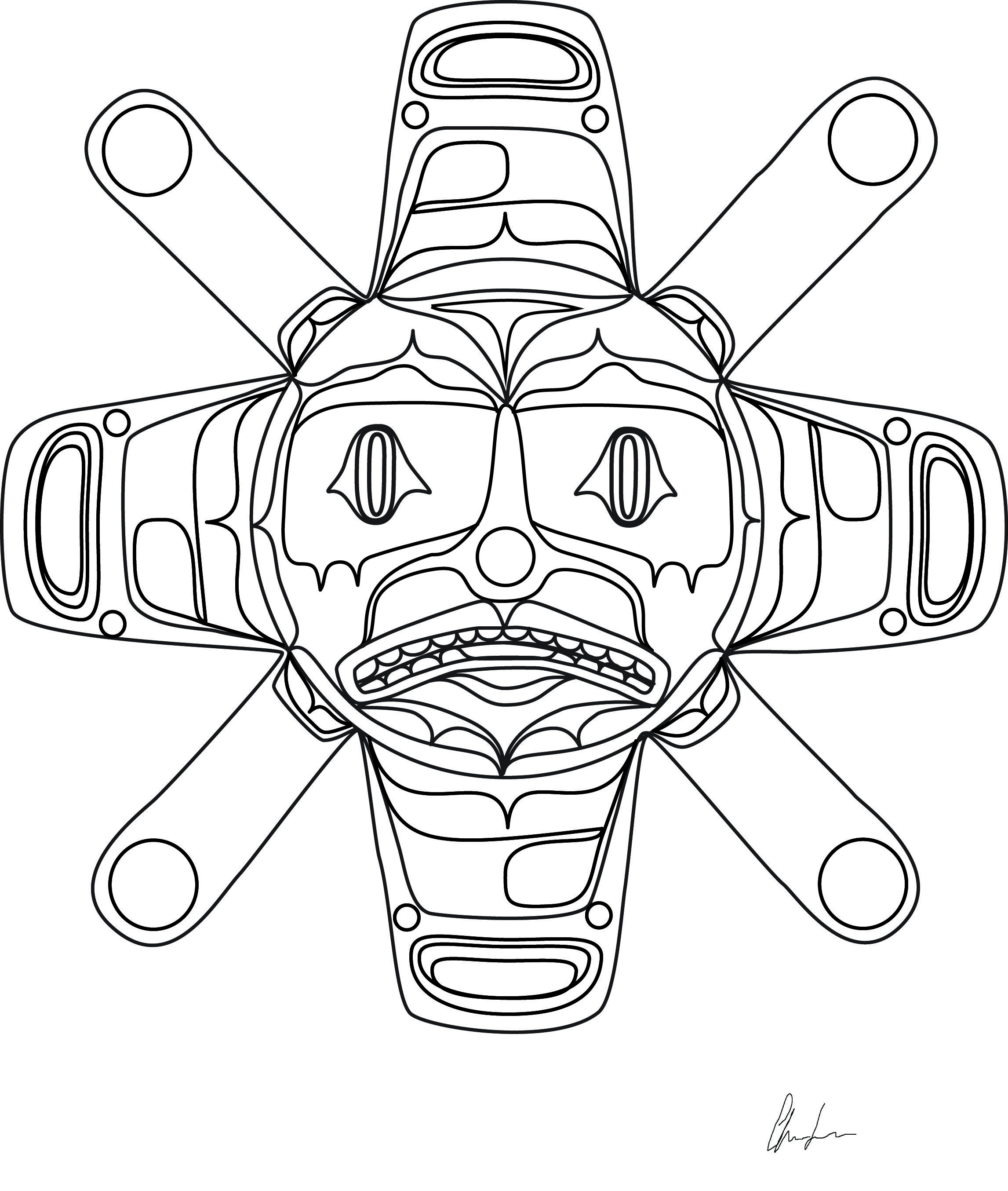 2293x2708 Summer Sun Coloring Book Design Northwest Coast First Nations