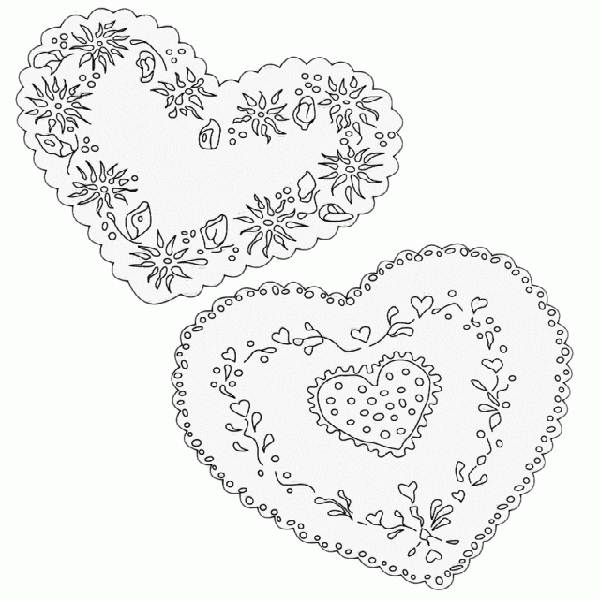 600x600 Lace Heart With Lace Coloring Page Color Me Pages