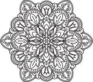 320x281 Abstract Vector Black Round Lace Design
