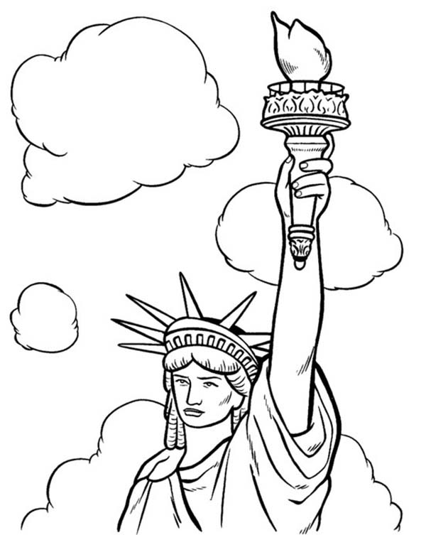 600x753 July Statue Of Liberty Coloring Page