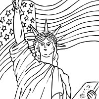 200x200 Lady Liberty And Flag Coloring Pages Surfnetkids