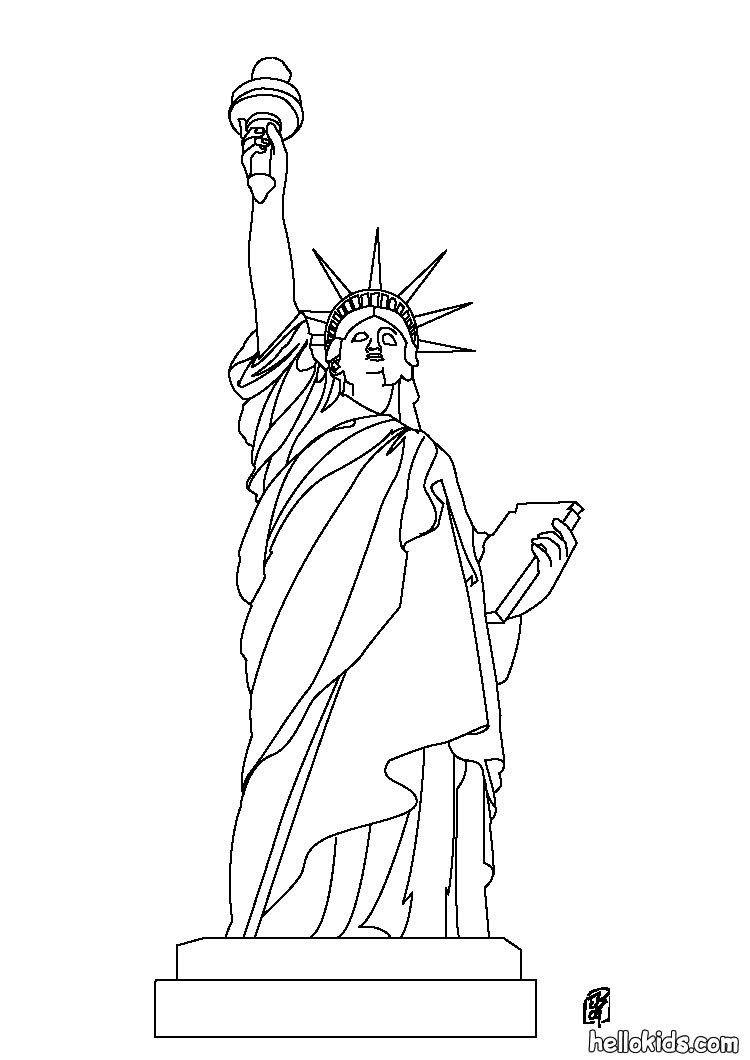750x1060 Statue Of Liberty Coloring Pages Hellokids Statue Of Liberty