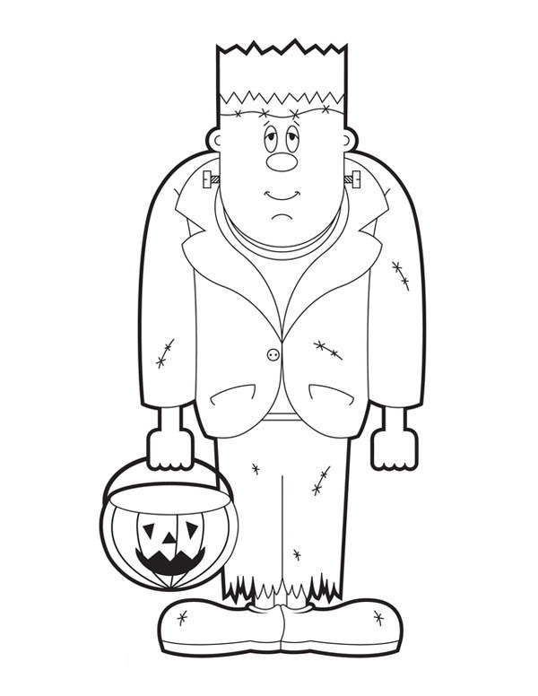 600x776 Frankenstein With Pumpkin Lamp Coloring Page
