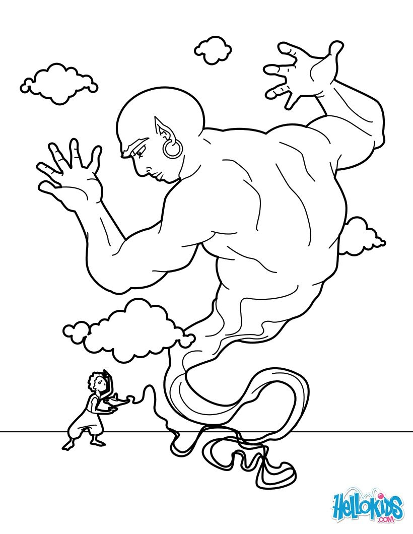 820x1060 The Lamp Genie Coloring Pages
