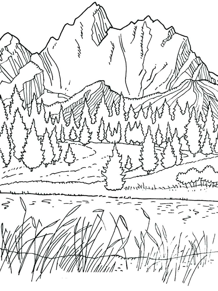 750x1000 Mountains Coloring Pages Picture Coloring For Kids Free Landform