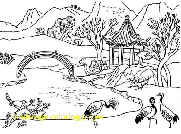 600x443 Landscape Coloring Pages With Beautiful Landscapes Coloring Pages
