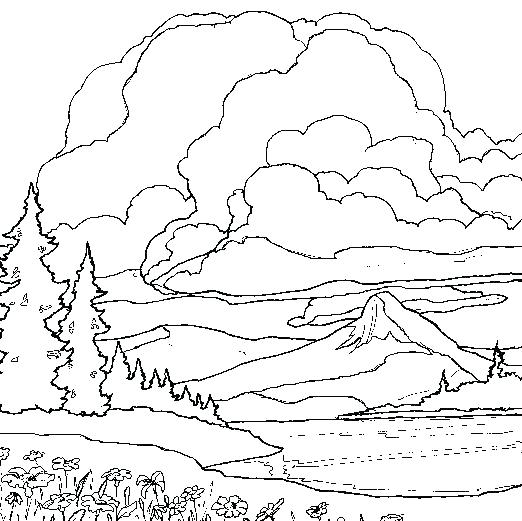 522x521 Mountain Coloring Pages Landscape Color Pages Mountain Coloring