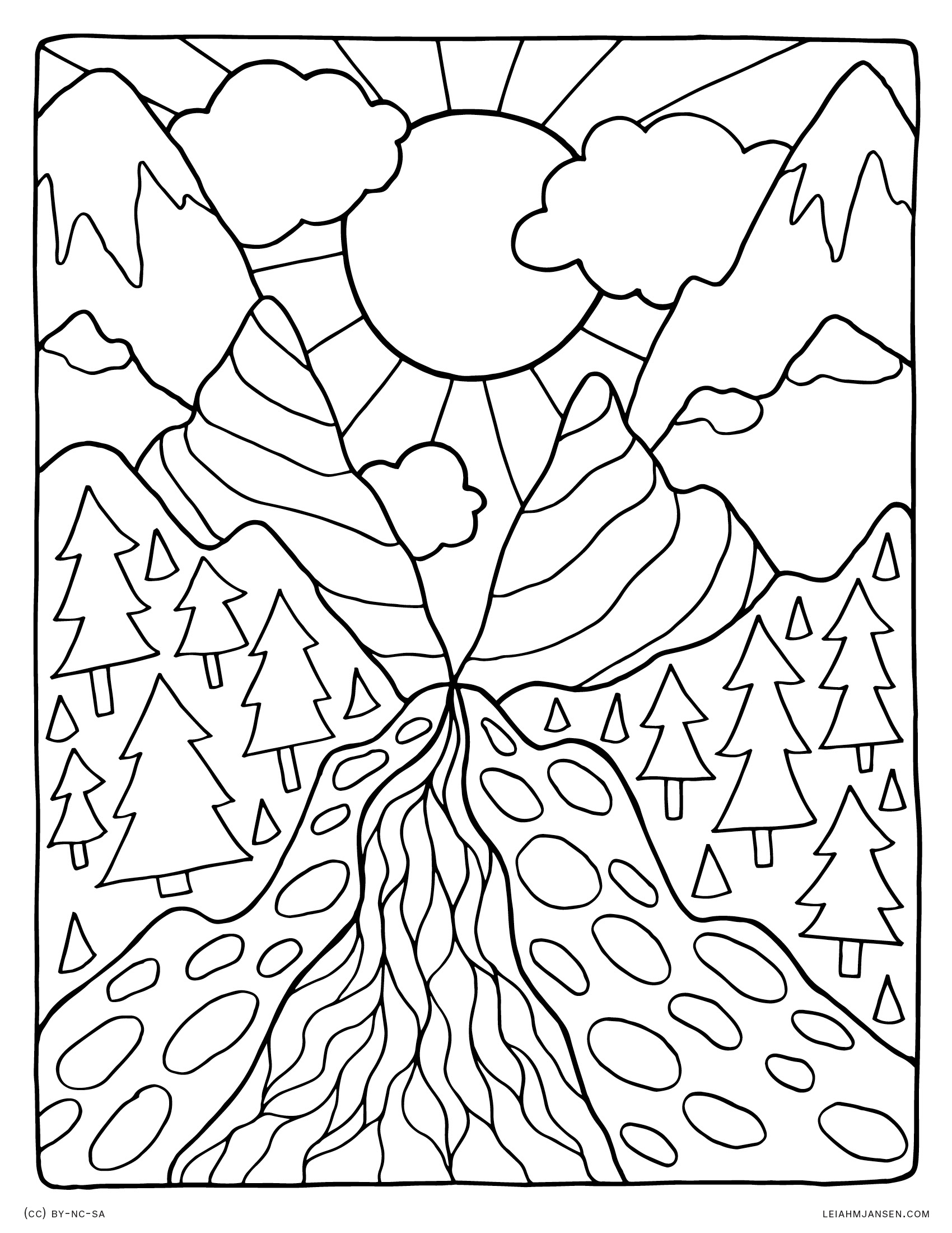 1700x2200 Helpful Free Coloring Pages Of Mountains Lands