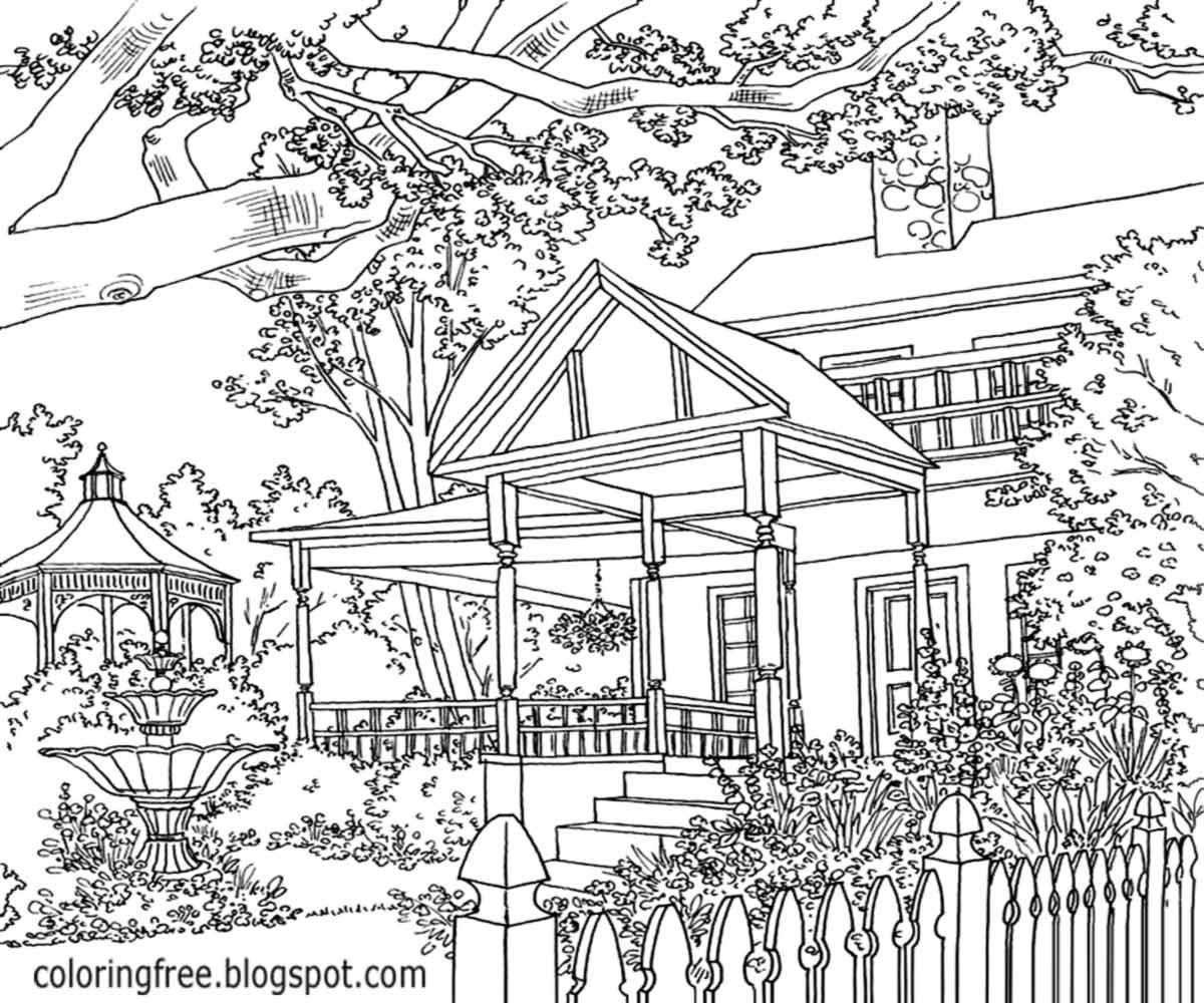 1200x1000 Landscape Coloring Pages For Adults
