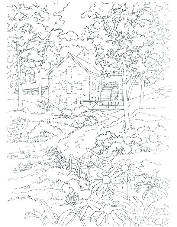 graphic relating to Free Printable Scenery called Landscape Coloring Webpages For Grown ups at