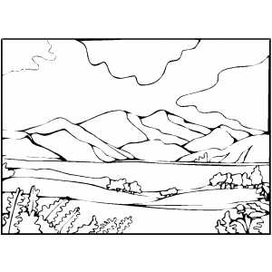 300x300 Mountain And Lake Coloring Page