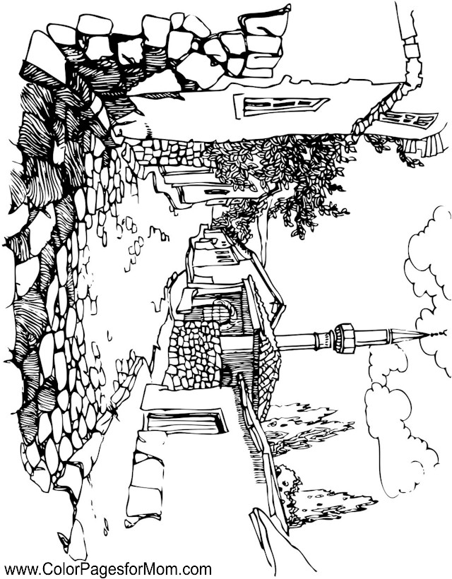640x820 Landscape Coloring Pages Adults Landscape Coloring Page