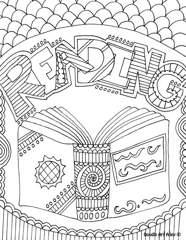 618x799 School Subject Coloring Page Notebook Cover Reading Art