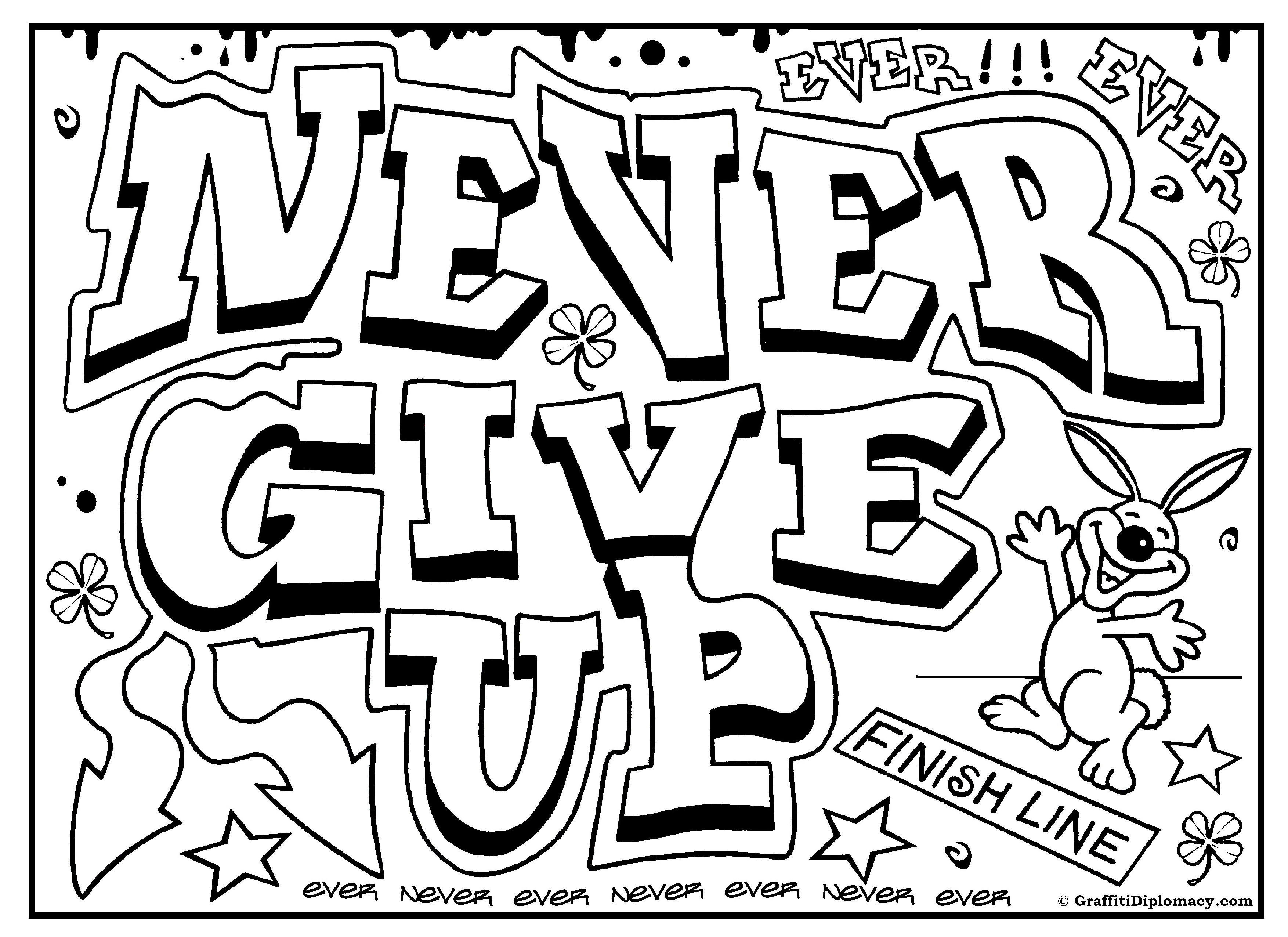 3508x2552 Enchanting Language Arts Coloring Pages Never Give Up Graffiti