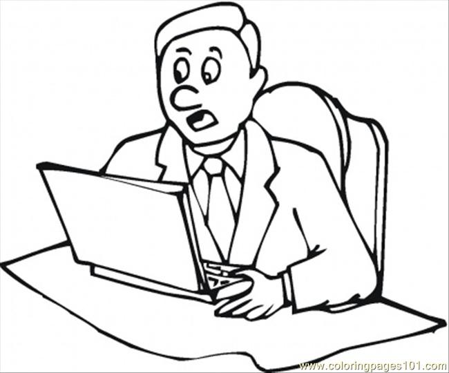 650x540 At The Laptop Coloring Page