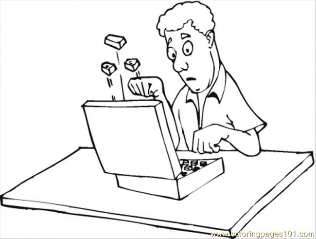 650x491 Mad Guy At The Laptop Coloring Page